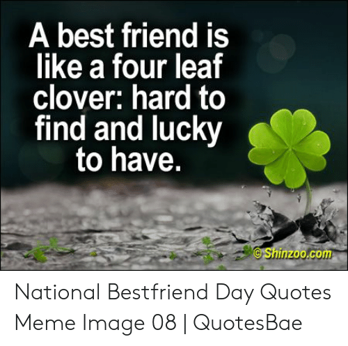 National Bestfriend Day: A best friend is  like a four leaf  clover: hard to  find and lucky  to have.  Shinzoo.com National Bestfriend Day Quotes Meme Image 08   QuotesBae