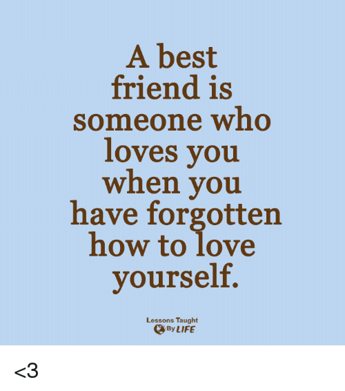 Lessoned: A best  friend is  someone who  loves you  when you  have forgotten  how to love  yourself.  Lessons Taught  By LIFE <3