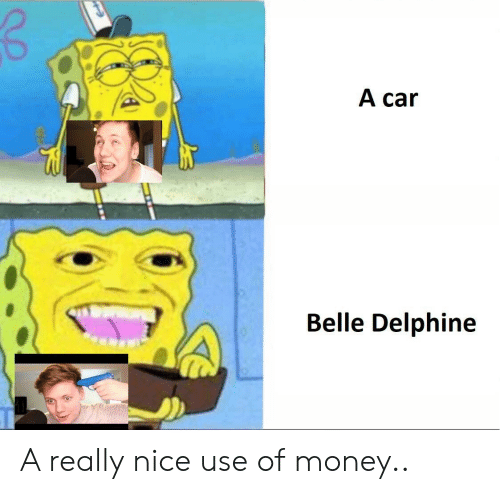 Money, SpongeBob, and Nice: A car  Belle Delphine A really nice use of money..