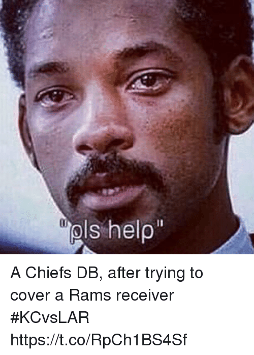 Sports, Chiefs, and Rams: A Chiefs DB, after trying to cover a Rams receiver #KCvsLAR https://t.co/RpCh1BS4Sf