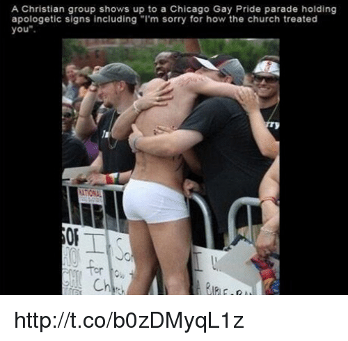 "Memes, 🤖, and The Church: A Christian group shows up to a Chicago Gay Pride parade holding  apologetic signs including ""I'm sorry for how the church treated  you http://t.co/b0zDMyqL1z"