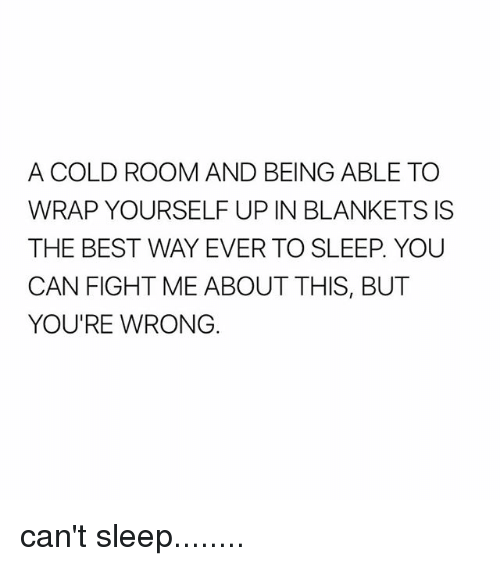 Best, Girl Memes, and Cold: A COLD ROOM AND BEING ABLE TO  WRAP YOURSELF UP IN BLANKETS IS  THE BEST WAY EVER TO SLEEP YOU  CAN FIGHT ME ABOUT THIS, BUT  YOU'RE WRONG. can't sleep........