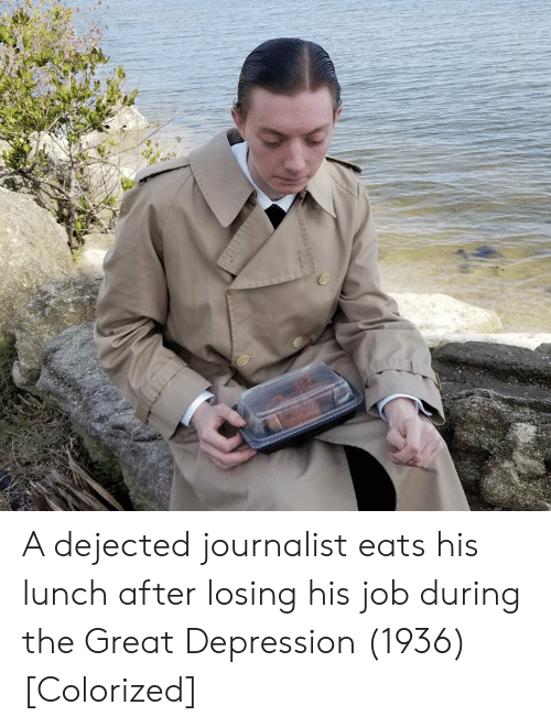 dejected: A dejected journalist eats his lunch after losing his job during the Great Depression (1936) [Colorized]