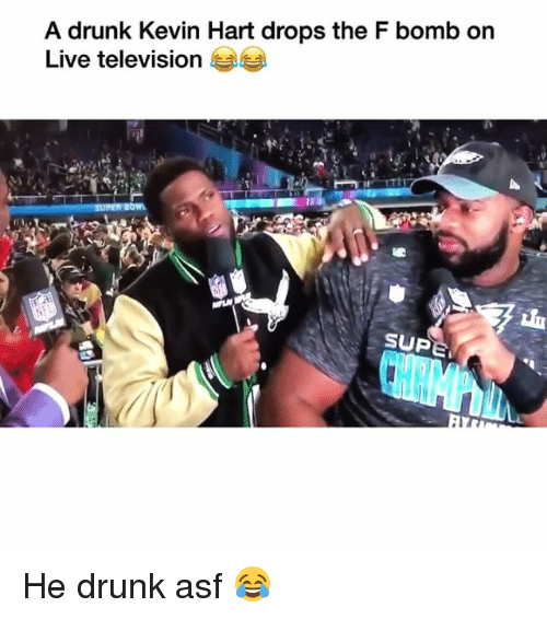 F Bomb: A drunk Kevin Hart drops the F bomb on  Live television  SUP He drunk asf 😂