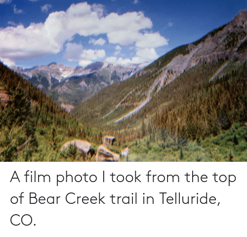 telluride: A film photo I took from the top of Bear Creek trail in Telluride, CO.
