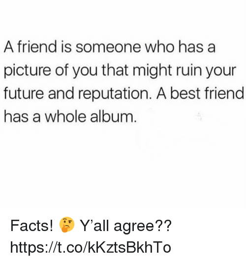 Best Friend, Facts, and Future: A friend is someone who has a  picture of you that might ruin your  future and reputation. A best friend  has a whole album Facts! 🤔 Y'all agree?? https://t.co/kKztsBkhTo