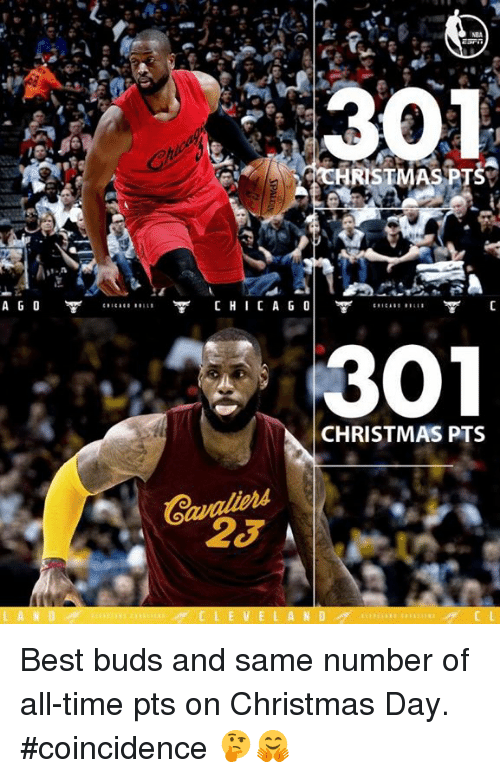 Memes, Coincidence, and 🤖: A G O  HRISTMAS PTS  CHI CA GO  301  CHRISTMAS PTS  23 A  C L E V E L A N D ‪Best buds and same number of all-time pts on Christmas Day.‬  ‪#coincidence 🤔🤗‬