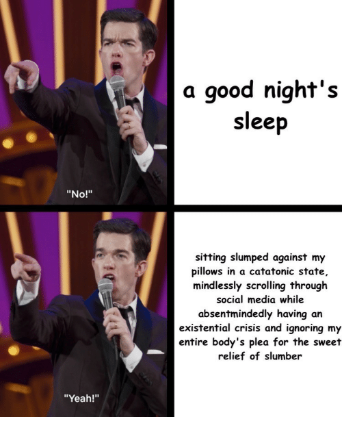 """the sweet: a good night's  sleep  """"No!""""  sitting slumped against my  pillows in a catatonic state,  mindlessly scrolling through  social media while  absentmindedly having an  existential crisis and ignoring my  entire body's plea for the sweet  relief of slumber  """"Yeah!"""""""