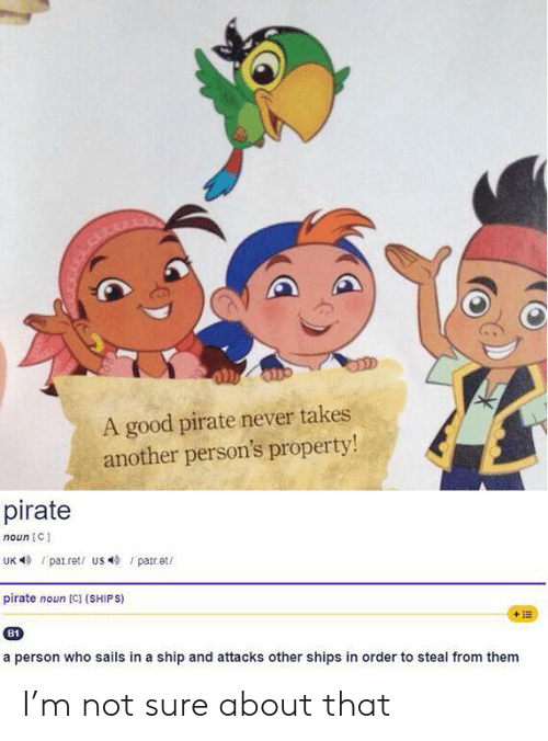 Property: A good pirate never takes  another person's property!  pirate  noun C  UK patret/ us par.et  pirate noun [C] (SHIPS)  +E  B1  a person who sails in a ship and attacks other shipss in order to steal from them I'm not sure about that