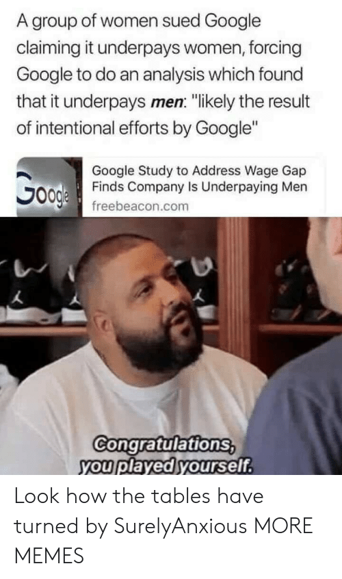 "Congratulations You Played Yourself, Dank, and Google: A group of women sued Google  claiming it underpays women, forcing  Google to do an analysis which found  that it underpays men: ""likely the result  of intentional efforts by Google""  Google Study to Address Wage Gap  Finds Company Is Underpaying Men  freebeacon.com  Congratulations  you played yourself Look how the tables have turned by SurelyAnxious MORE MEMES"