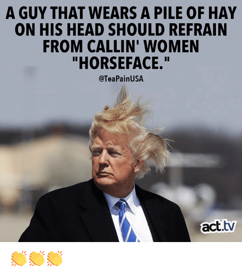 "Head, Memes, and Women: A GUY THAT WEARS A PILE OF HAY  ON HIS HEAD SHOULD REFRAIN  FROM CALLIN' WOMEN  ""HORSEFACE.""  @TeaPainUSA  act.tv 👏👏👏"