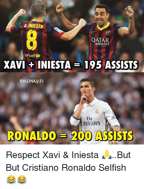 qatar airways: A. INIESTA  QATAR  AIRWAYS  uricef  XAVI + INIESTA = 195 ASSISTS  RM-DNAljr3I  Fly  mirates  RONALDO = 200 ASSISTS Respect Xavi & Iniesta 🙏..But But Cristiano Ronaldo Selfish 😂😂