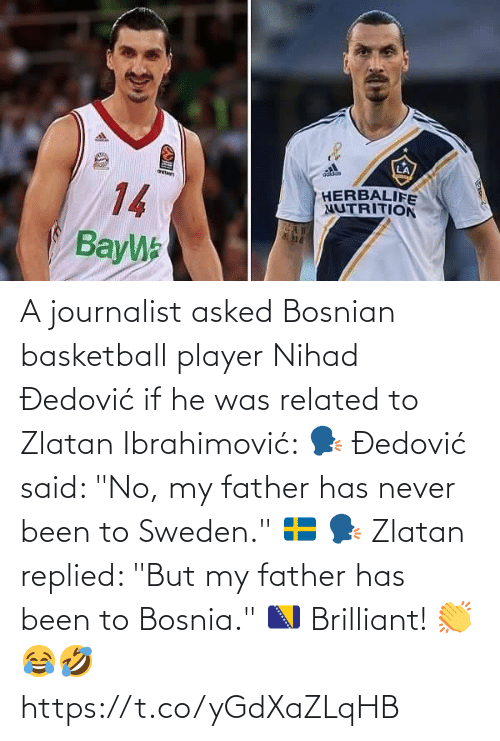 "Https T: A journalist asked Bosnian basketball player Nihad Đedović if he was related to Zlatan Ibrahimović:   🗣 Đedović said: ""No, my father has never been to Sweden."" 🇸🇪  🗣 Zlatan replied: ""But my father has been to Bosnia."" 🇧🇦  Brilliant! 👏😂🤣 https://t.co/yGdXaZLqHB"
