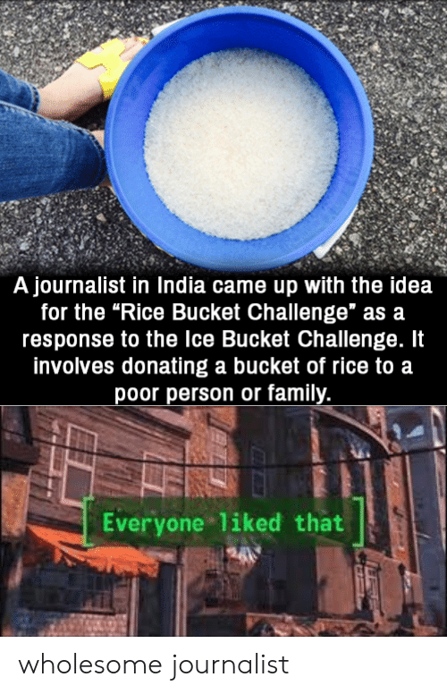 "Bucket: A journalist in India came up with the idea  for the ""Rice Bucket Challenge"" as a  response to the Ice Bucket Challenge. It  involves donating a bucket of rice to a  poor person or family.  Everyone liked that wholesome journalist"