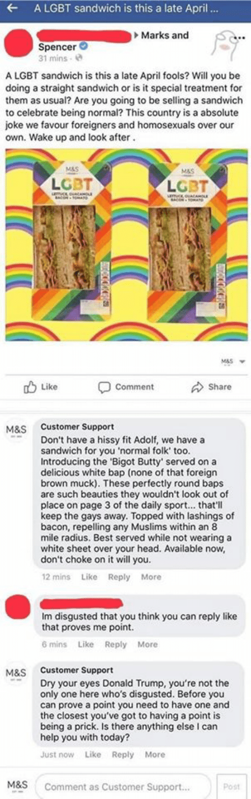 Hissy: A LGBT sandwich is this a late April ..  Marks and  Spencer  31 mins  A LGBT sandwich is this a late April fools? Will you be  doing a straight sandwich or is it special treatment for  them as usual? Are you going to be selling a sandwich  to celebrate being normal? This country is a absolute  joke we favour foreigners and homosexuals over our  own. Wake up and look after.  M&S  M&S  LGBT  LGBT  mcoucO  CON-MAN  umc ouaA  BACONOA  M&S  Share  Like  Comment  Customer Support  M&S  Don't have a hissy fit Adolf, we have a  sandwich for you 'normal folk' too.  Introducing the 'Bigot Butty' served on a  delicious white bap (none of that foreign  brown muck). These perfectly round baps  are such beauties they wouldn't look out of  place on page 3 of the daily sport... that'll  keep the gays away. Topped with lashings of  bacon, repelling any Muslims within an 8  mile radius. Best served while not wearing a  white sheet over your head. Available now,  don't choke on it will you  12 mins Like Reply More  Im disgusted that you think you can reply like  that proves me point.  6 mins Like Reply More  M&S Customer Support  Dry your eyes Donald Trump, you're not the  only one here who's disgusted. Before you  can prove a point you need to have one and  the closest you've got to having a point is  being a prick. Is there anything else I can  help you with today?  Like Reply More  Just now  M&S  Comment as Customer Support...  Post