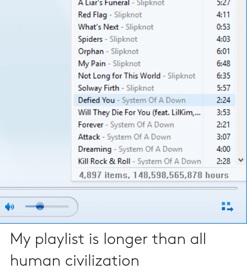 Forever, Slipknot, and Spiders: A Liar's Funeral Slipknot  5:27  Red Flag-Slipknot  What's Next - Slipknot  4:11  0:53  Spiders - Slipknot  4:03  Orphan -Slipknot  My Pain - Slipknot  Not Long for This World -Slipknot  Solway Firth -Slipknot  6:01  6:48  6:35  5:57  Defied You - System Of A Down  2:24  Will They Die For You (feat. LilKim,..  3:53  Forever - System Of A Down  2:21  Attack - System Of A Down  3:07  Dreaming - System Of A Down  4:00  Kill Rock & Roll - System Of A Down  2:28  4,897 items, 148,598,565,878 hours My playlist is longer than all human civilization