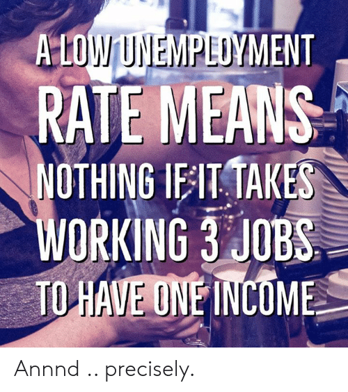 Precisely: A LOW UNEMPLUYMENT  RATE MEANS  NOTHING IEIT TAKES  WORKING 3 JOBS  TO HAVE ONE İNCOME Annnd .. precisely.