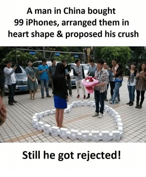 heart shape: A man in China bought  99 iPhones, arranged them in  heart shape & proposed his crush  Still he got rejected!