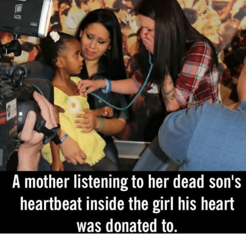 Memes, Girl, and Heart: A mother listening to her dead son's  heartbeat inside the girl his heart  was donated to