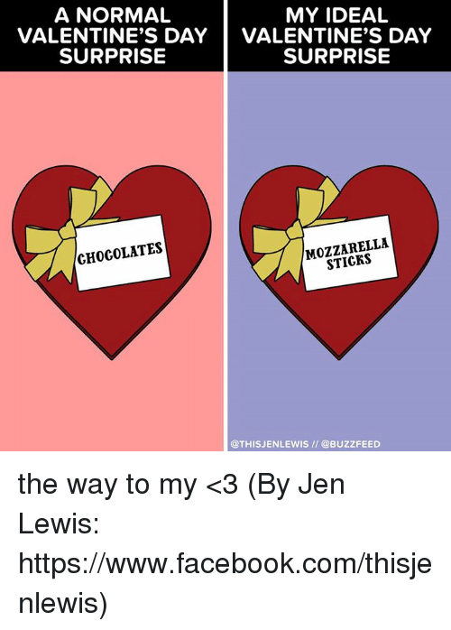 Buzzfees: A NORMAL  MY IDEAL  VALENTINE'S DAY  VALENTINE'S DAY  SURPRISE  SURPRISE  MOZZARELLA  CHOCOLATES  @THIS JENLEWIS @BUZZFEED the way to my <3 (By Jen Lewis: https://www.facebook.com/thisjenlewis)