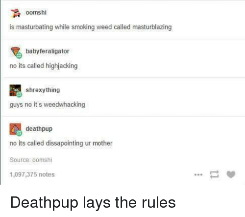 Motheres: A oomshi  is masturbating while smoking weed called masturblazing  babyferaligator  no its called highjacking  shrexy thing  guys no it's weedwhacking  deathpup  no its called dissapointing ur mother  Source: oomshi  1,097,375 notes Deathpup lays the rules