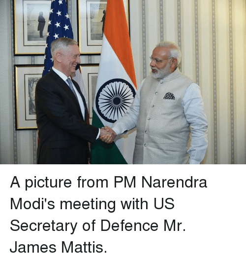 James Mattis: A picture from PM Narendra Modi's meeting with US Secretary of Defence Mr. James Mattis.