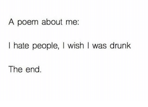 Memes, Poems, and 🤖: A poem about me:  I hate people, I wish I was drunk  The end