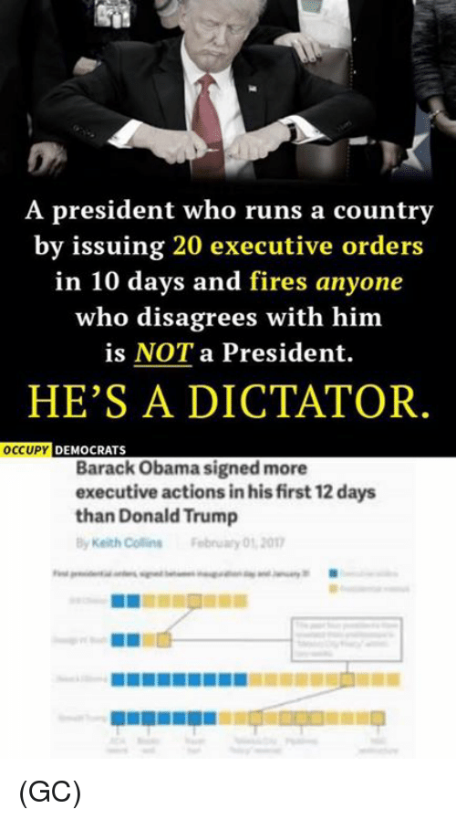 Memes, 🤖, and Executive Order: A president who runs a country  by issuing 20 executive orders  in 10 days and fires anyone  who disagrees with him  is NOT a President.  HE'S A DICTATOR  OCCUPY  DEMOCRATS  Barack Obama signed more  executive actions inhisfirst 12 days  than Donald Trump  Keith Collins February 01 2017 (GC)