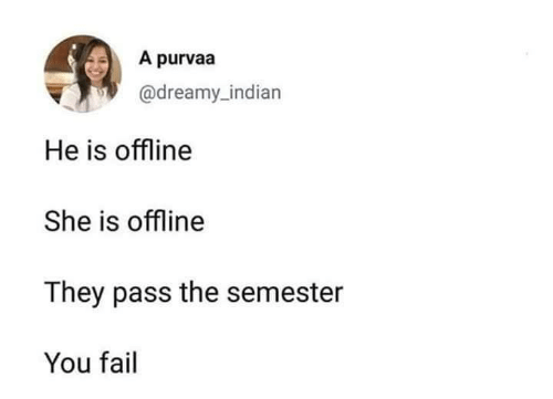 Fail, Indian, and Offline: A purvaa  @dreamy_indian  He is offline  She is offline  They pass the semester  You fail