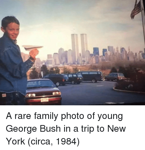 family photo: A rare family photo of young George Bush in a trip to New York (circa, 1984)