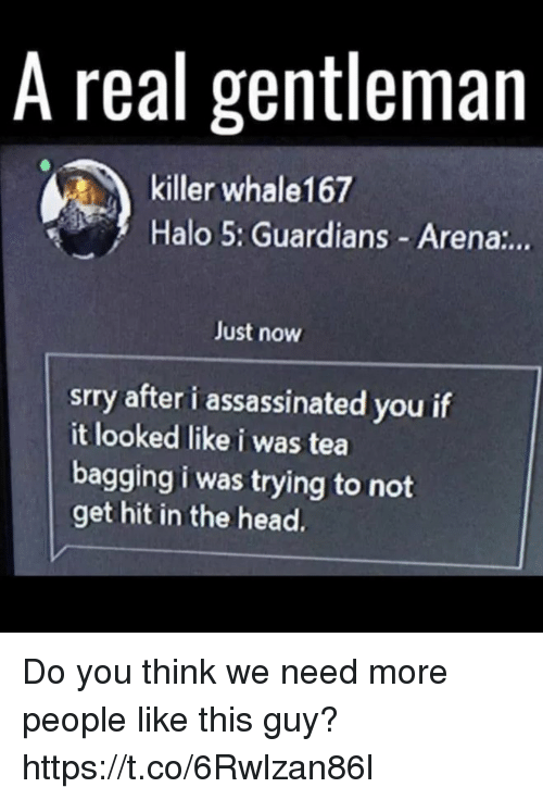 Halo, Head, and Tea: A real gentleman  killer whale167  Halo 5: Guardians Arena:..  Just now  srry after i assassinated you if  it looked like i was tea  bagging i was trying to not  get hit in the head. Do you think we need more people like this guy? https://t.co/6Rwlzan86l