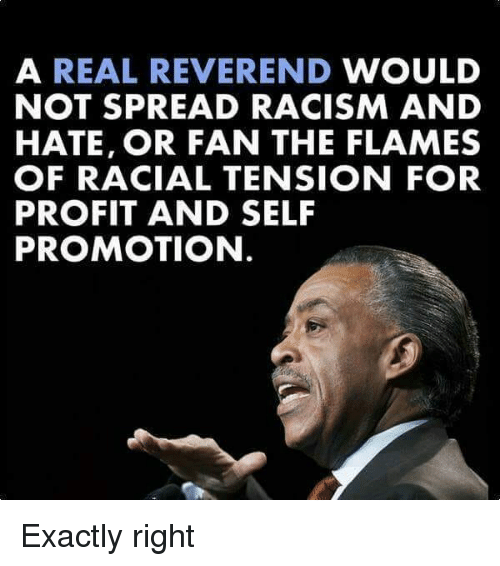 Memes, Racism, and 🤖: A REAL REVEREND WOULD  NOT SPREAD RACISM AND  HATE, OR FAN THE FLAMES  OF RACIAL TENSION FOR  PROFIT AND SELF  PROMOTION Exactly right