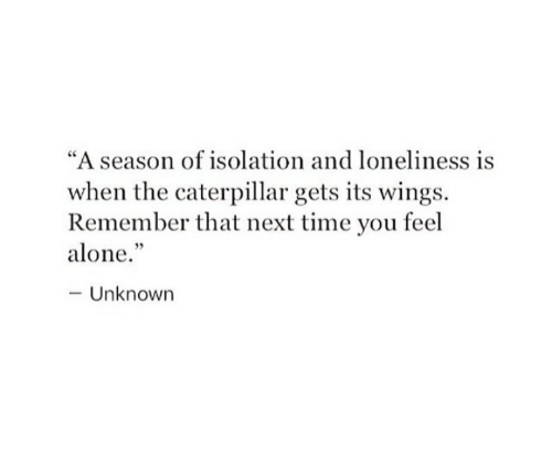 "Being Alone, Time, and Wings: ""A season of isolation and loneliness is  when the caterpillar gets its wings.  Remember that next time you feel  alone.  -Unknown"