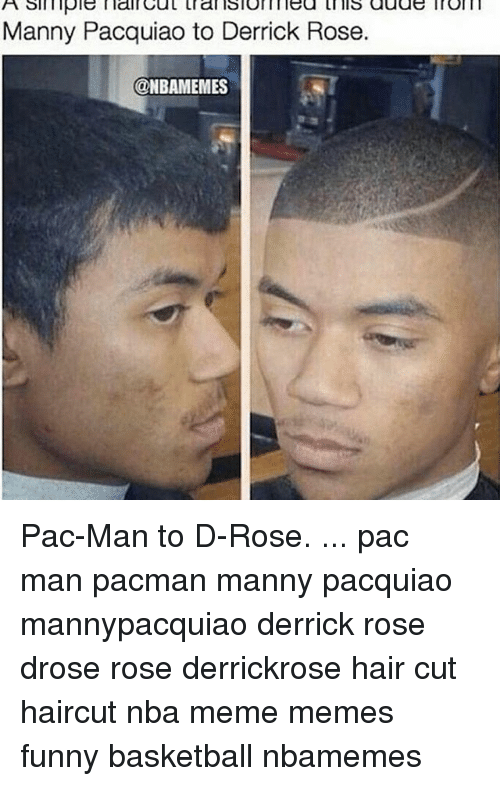 Funny Basketball: A simple main trans lom lea this auas  Manny Pacquiao to Derrick Rose.  @NBAMEMES Pac-Man to D-Rose. ... pac man pacman manny pacquiao mannypacquiao derrick rose drose rose derrickrose hair cut haircut nba meme memes funny basketball nbamemes
