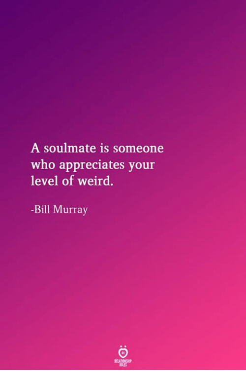 Bill Murray: A soulmate is someone  who appreciates your  level of weird.  -Bill Murray