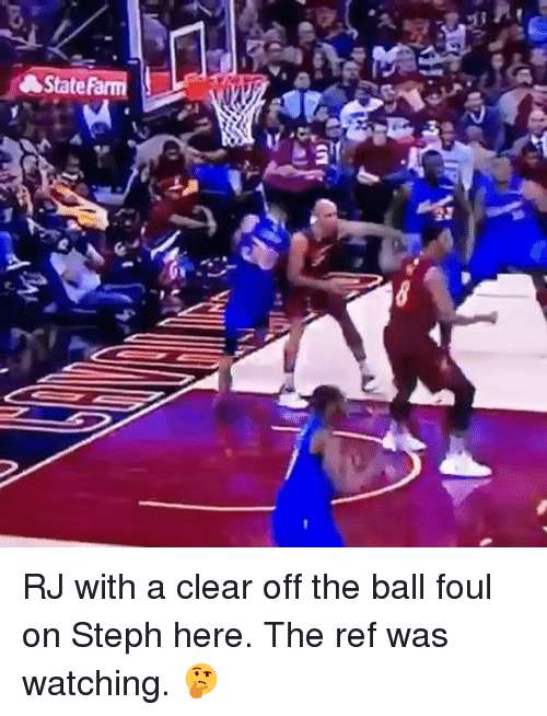 The Ref: A State ‪RJ with a clear off the ball foul on Steph here. The ref was watching. 🤔‬