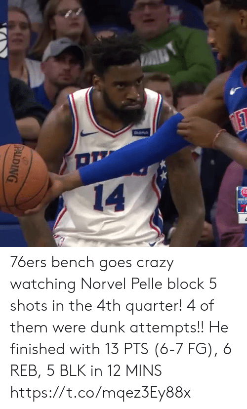 shots: A  Stu  ET  14  PALDING 76ers bench goes crazy watching Norvel Pelle block 5 shots in the 4th quarter! 4 of them were dunk attempts!!  He finished with 13 PTS (6-7 FG), 6 REB, 5 BLK in 12 MINS  https://t.co/mqez3Ey88x