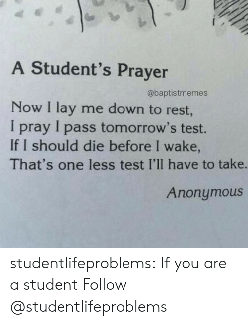 Tumblr, Anonymous, and Blog: A Student's Prayer  @baptistmemes  Now I lay me down to rest  I pray I pass tomorrow's test.  If I should die before I wake,  That's one less test I'lI have to take.  Anonymous studentlifeproblems:  If you are a student Follow @studentlifeproblems
