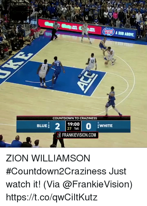 Countdown, Memes, and Blue: A SUB ABOVE  2.  COUNTDOWN TO CRAZINESS  BLUE  19:00  27 1st  WHITE  FRANKIEVISION.COM ZION WILLIAMSON #Countdown2Craziness Just watch it!   (Via @FrankieVision)    https://t.co/qwCiItKutz