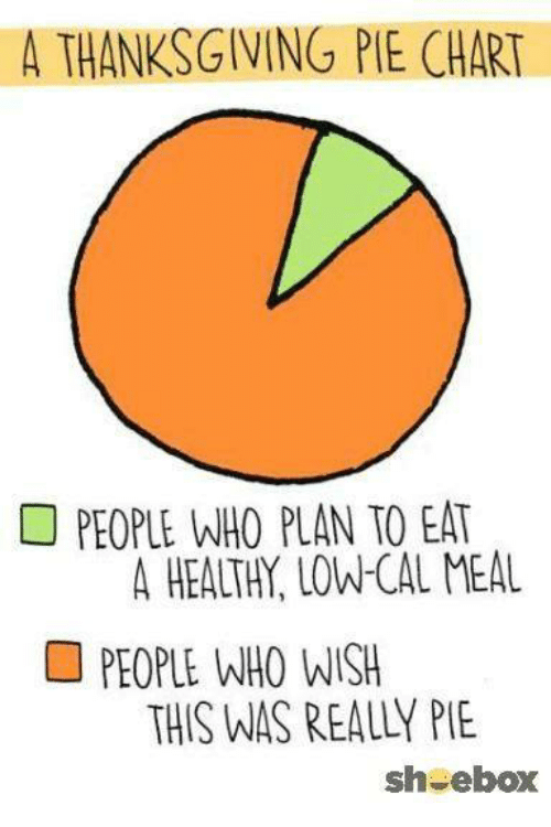 A THANKSGIVING PIE CHART PEOPLE WHO PLAN TO EAT a HEALTH LOW
