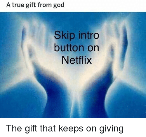 God, Memes, and Netflix: A true gift from god  Skip intro  button on  Netflix The gift that keeps on giving