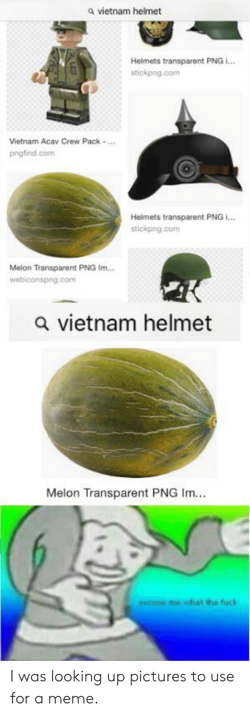 transparent png: a vietnam helmet  Helmets transparent PNG i...  stickpng.com  Vietnam Acav Crew Pack  pngfind.com  Helmets transparent PNG i...  stickpng.com  Melon Transparent PNG Im...  webiconspng.com  a vietnam helmet  Melon Transparent PNG Im...  excuse me what the fuck I was looking up pictures to use for a meme.
