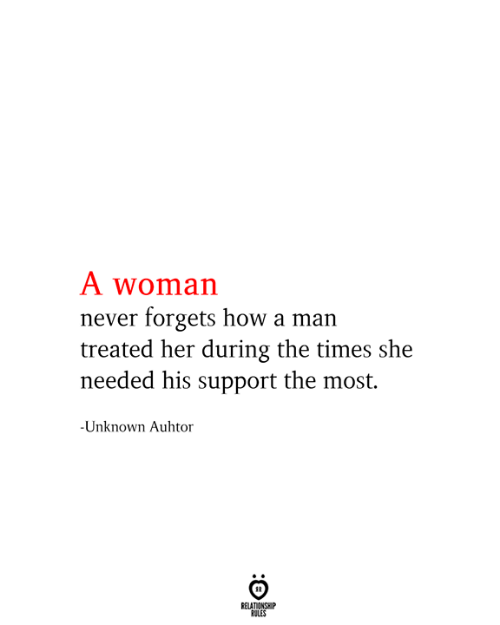 the times: A woman  never forgets how a man  treated her during the times she  needed his support the most.  -Unknown Auhtor  RELATIONSHIP  RULES