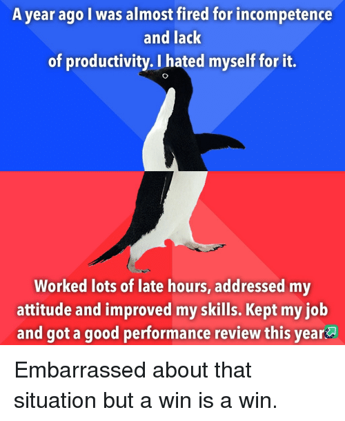 productivity: A year ago I was almost fired for incompetence  and lack  of productivity. I hated myself for it.  Worked lots of late hours, addressed my  attitude and improved my skills. Kept my iob  and got a good performance review this year Embarrassed about that situation but a win is a win.