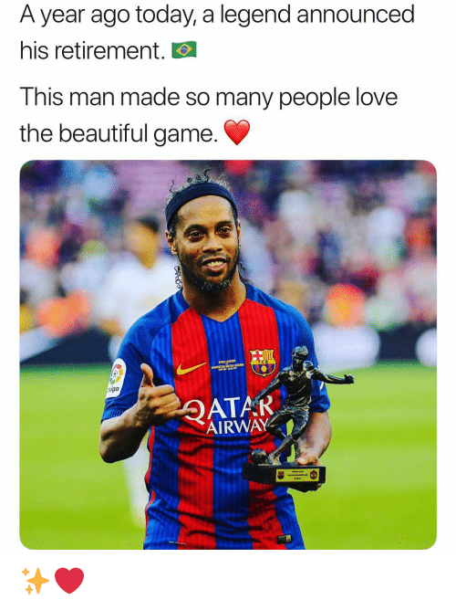 Beautiful, Love, and Memes: A year ago today, a legend announced  his retirement.  This man made so many people love  the beautiful game  iga  AIRWAY ✨❤️