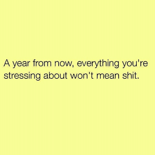 Shit, Mean, and Now: A year from now, everything you're  stressing about won't mean shit.