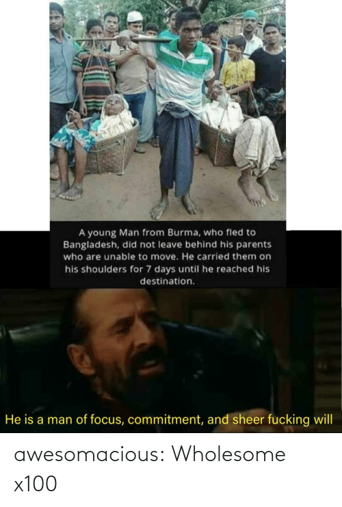 Young: A young Man from Burma, who fled to  Bangladesh, did not leave behind his parents  who are unable to move. He carried them on  his shoulders for 7 days until he reached his  destination.  He is a man of focus, commitment, and sheer fucking will awesomacious:  Wholesome x100