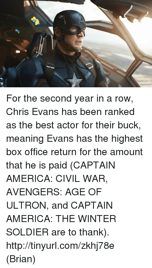 Avengers Age of Ultron, Boxing, and Captain America: Civil War: A1 For the second year in a row, Chris Evans has been ranked as the best actor for their buck, meaning Evans has the highest box office return for the amount that he is paid (CAPTAIN AMERICA: CIVIL WAR, AVENGERS: AGE OF ULTRON, and CAPTAIN AMERICA: THE WINTER SOLDIER are to thank).  http://tinyurl.com/zkhj78e  (Brian)