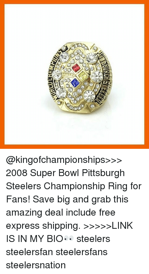 Pittsburgh Steeler: aa o2 @kingofchampionships>>> 2008 Super Bowl Pittsburgh Steelers Championship Ring for Fans! Save big and grab this amazing deal include free express shipping. >>>>>LINK IS IN MY BIO👀 steelers steelersfan steelersfans steelersnation
