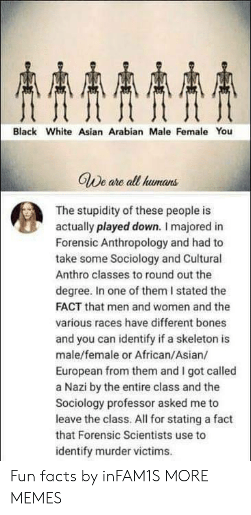 Degree In: AAAA  Black White Asian Arabian Male Female You  GWe are all humans  The stupidity of these people is  actually played down. I majored in  Forensic Anthropology and had to  take some Sociology and Cuitural  Anthro classes to round out the  degree. In one of them I stated the  FACT that men and women and the  various races have different bones  and you can identify if a skeleton is  male/female or African/Asian/  European from them and I got called  a Nazi by the entire class and the  Sociology professor asked me to  leave the class. All for stating a fact  that Forensic Scientists use to  identify murder victims Fun facts by inFAM1S MORE MEMES